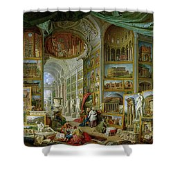 Gallery Of Views Of Ancient Rome Shower Curtain by Giovanni Paolo Pannini