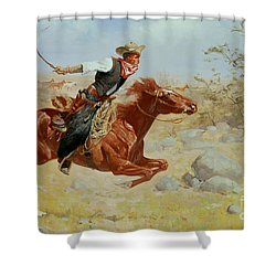 Galloping Horseman Shower Curtain by Frederic Remington