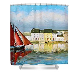 Galway Hooker Leaving Port Shower Curtain by Conor McGuire
