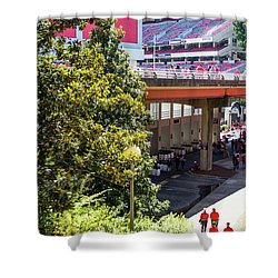 Shower Curtain featuring the photograph Game Day In Athens by Parker Cunningham