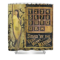 Shower Curtain featuring the mixed media Game Of Fifteen by Desiree Paquette