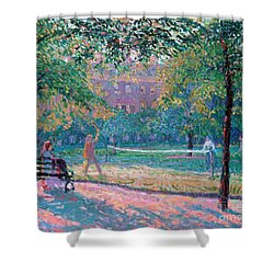 Game Of Tennis Shower Curtain by Spencer Frederick Gore