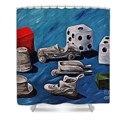 Game Pieces Shower Curtain by Herschel Fall