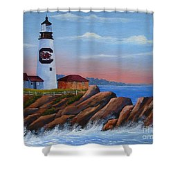 Gamecock Lighthouse Shower Curtain