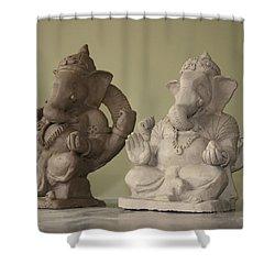Ganapati Idols Shower Curtain by Mandar Marathe