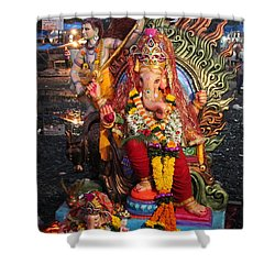 Ganesha Arati On Ganesh Chaturthi, Ganeshpuri Shower Curtain by Jennifer Mazzucco