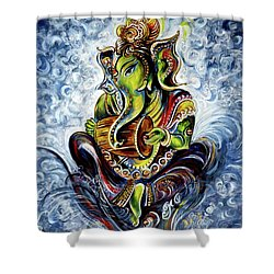 Ganesha Mridangam  Shower Curtain