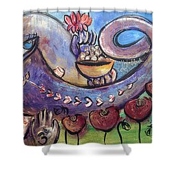 Ganesha With Poppies Shower Curtain