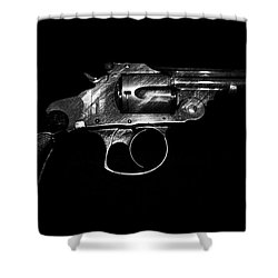 Shower Curtain featuring the mixed media Gangster Gun by Daniel Hagerman