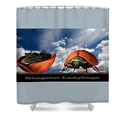 Gangster Ladybugs Nature Gone Mad Shower Curtain by Bob Orsillo