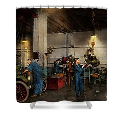 Shower Curtain featuring the photograph Garage - Mechanic - The Overhaul 1919 by Mike Savad