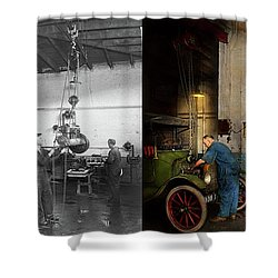 Shower Curtain featuring the photograph Garage - Mechanic - The Overhaul 1919 - Side By Side by Mike Savad