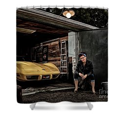 Garage Portrait Shower Curtain by Brad Allen Fine Art