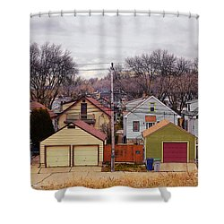 Garages Shower Curtain by David Blank