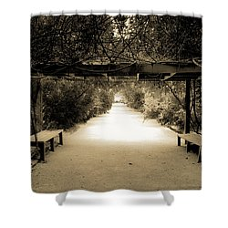 Garden Arbor In Sepia Shower Curtain