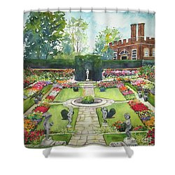 Shower Curtain featuring the painting Garden At Hampton Court Palace by Susan Herbst