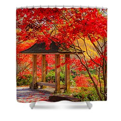 Shower Curtain featuring the photograph Garden Bench by Geraldine DeBoer