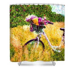 Garden Bicycle Print Shower Curtain