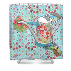 Shower Curtain featuring the mixed media Garden Blessings by Nancy Lee Moran
