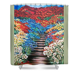 Red White And Blue Garden Cascade.               Flying Lamb Productions  Shower Curtain