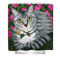 Shower Curtain featuring the painting Garden Cat - Silver Tabby Cat Azaleas by Carrie Hawks