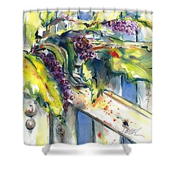 Garden Gate In Fall With Poke Berries  Shower Curtain