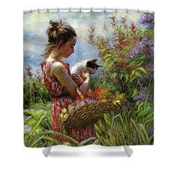 Shower Curtain featuring the painting Garden Gatherings by Steve Henderson