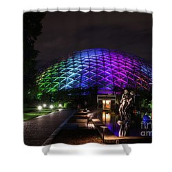 Shower Curtain featuring the photograph Garden Globe At Night by Andrea Silies