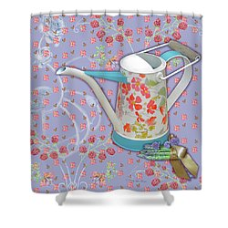Shower Curtain featuring the mixed media Garden Joys In Lovely Lavender by Nancy Lee Moran