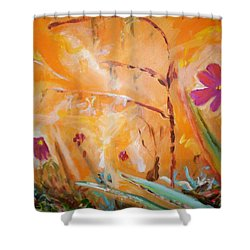 Shower Curtain featuring the painting Garden Moment by Winsome Gunning
