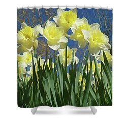 Shower Curtain featuring the photograph Garden Of Daffodils by Donna Kennedy
