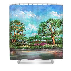 Shower Curtain featuring the painting  Summer In The Garden Of Eden by Randol Burns