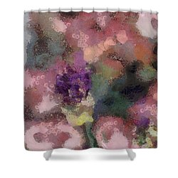 Shower Curtain featuring the mixed media Garden Of Love by Trish Tritz