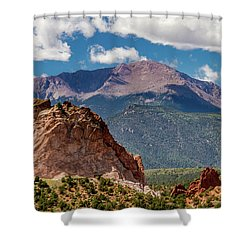 Shower Curtain featuring the photograph Garden Of The Gods And Pikes Peak by Bill Gallagher