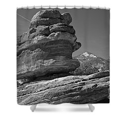 Shower Curtain featuring the photograph Garden Of The Gods Balanced Rock Black And White by Adam Jewell