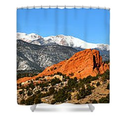 Shower Curtain featuring the photograph Garden Of The Gods Extended Panorama by Adam Jewell