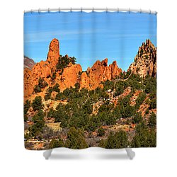 Shower Curtain featuring the photograph Garden Of The Gods High Point Panorama by Adam Jewell