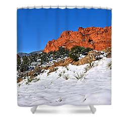 Shower Curtain featuring the photograph Garden Of The Gods Red And White by Adam Jewell