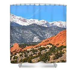 Shower Curtain featuring the photograph Garden Of The Gods Red Rock Panorama by Adam Jewell
