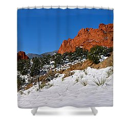 Shower Curtain featuring the photograph Garden Of The Gods Snowy Blue Sky Panorama by Adam Jewell