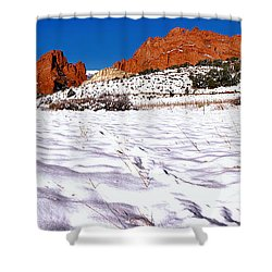 Shower Curtain featuring the photograph Garden Of The Gods Snowy Morning Panorama by Adam Jewell