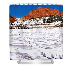 Shower Curtain featuring the photograph Garden Of The Gods Snowy Morning Panorama Crop by Adam Jewell