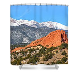 Shower Curtain featuring the photograph Garden Of The Gods Spring Panorama by Adam Jewell