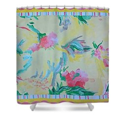 Garden Party Floorcloth Shower Curtain by Judith Espinoza
