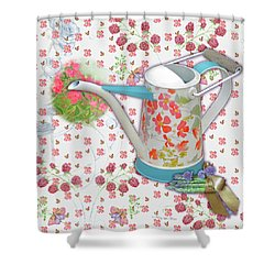 Shower Curtain featuring the mixed media Garden Pleasures by Nancy Lee Moran