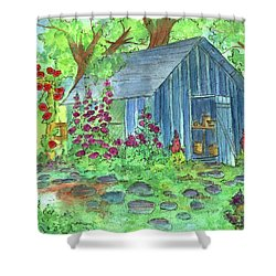 Garden Potting Shed Shower Curtain by Cathie Richardson