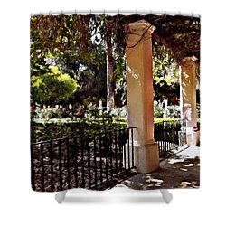 Shower Curtain featuring the photograph Garden Promenade - San Fernando Mission by Glenn McCarthy Art and Photography