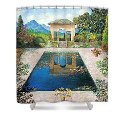 Garden Reflection Pool Shower Curtain by Lou Ann Bagnall