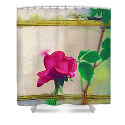 Shower Curtain featuring the digital art Garden Rose by Holly Ethan