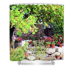 Garden Terrace Shower Curtain by Desiree Paquette